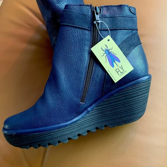 Fly London Shoes | Navy Blue Yado Ankle